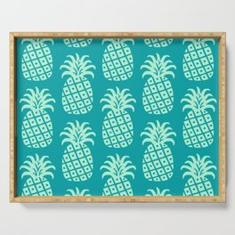 Retro Mid Century Modern Pineapple Pattern Mint Green and Teal 2 Serving Tray