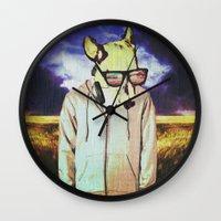 american Wall Clocks featuring American Teenager by Bunhugger Design