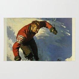 Switzerland Skiing - Vintage Poster Rug