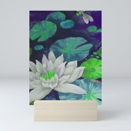 lilypad & dragonfly Mini Art Print