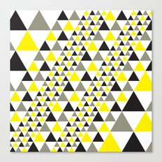 Black & Yellow equilateral triangles pattern Canvas Print