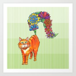 A Cat Sprouting Flowers Art Print