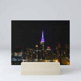 Manhattan by night NYC pixels Mini Art Print