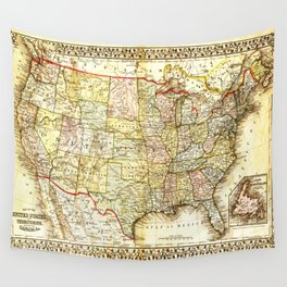 1867 USA Map Wall Tapestry