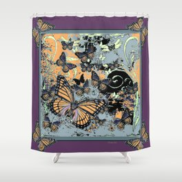 Butterflies Migration in  Puce Purple Grey-black Graphic Art Shower Curtain