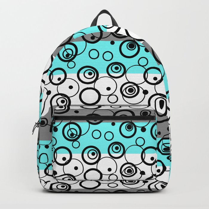 Circles and rings on striped background . Turquoise , black , white , grey . Backpack