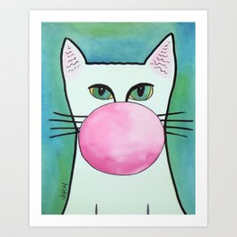 Bubble Gum Cat in Blue Art Print