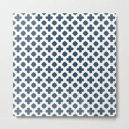 Dusky Blue Stars & Crosses Pattern Metal Print
