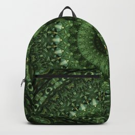 Mandala in olive green tones Backpack