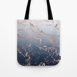 Modern grey navy blue ombre rose gold marble pattern Tote Bag