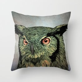 Owl - Red Eyes Throw Pillow