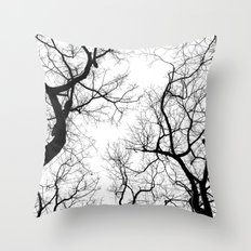 Black and white tree top silhouettes... Throw Pillow