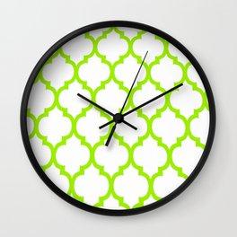 Moroccan GREEN AND WHITE LATTICE DESIGN Wall Clock