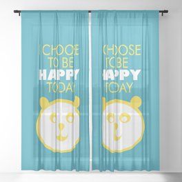 Happy panda, I choose to be happy today inspirational quote Sheer Curtain