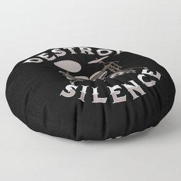 I Destroy Silence - Drummer Drums Drumsticks Music Floor Pillow