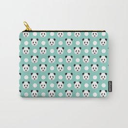 Panda polka dots pattern print minimal trendy kids design pillow cell phone cute panda cub character Carry-All Pouch