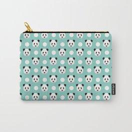 Panda polka dots pattern print minimal trendy kids design pillow cell phone cute panda cub character Carry-All Pouch