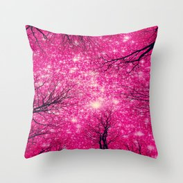 Black Trees Coral Pink Space Throw Pillow