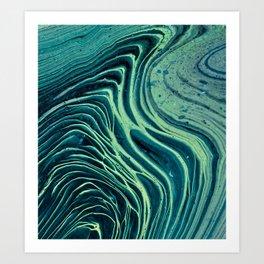 Lagoon Acrylic Tree Ring Pour Painting Art Print