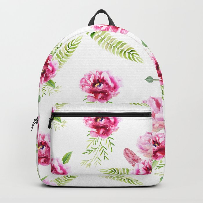 Wild Flowers Pink and Green Backpack