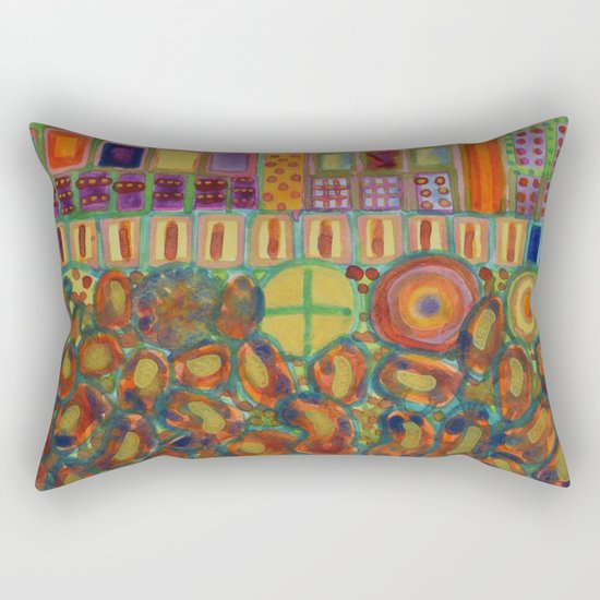Decorated and illuminated House  Rectangular Pillow