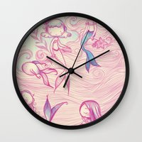 mermaids Wall Clocks featuring Mermaids by malipi