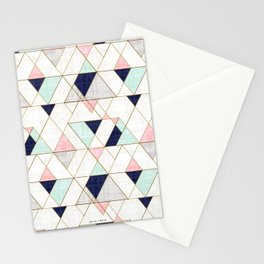 Mod Triangles - Navy Blush Mint Stationery Cards