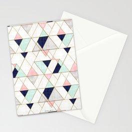 Mod Triangles - Navy Blush Mint Stationery Cards