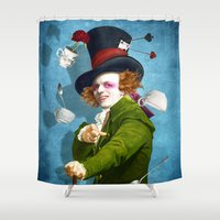 mad Shower Curtains featuring Mad Hatter by Diogo Verissimo