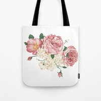 playstation Tote Bags featuring Watercolor rose by eARTh