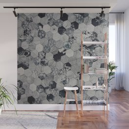 Grey&Black Hexagon Wall Mural