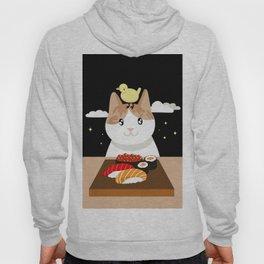 Sushi Eating Cat & Bird Hoody