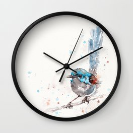 Mischief In The Making (Variegated Fairy Wren) Wall Clock