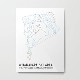 Whakapapa Skifield, New Zealand - Minimalist Trail Art Metal Print