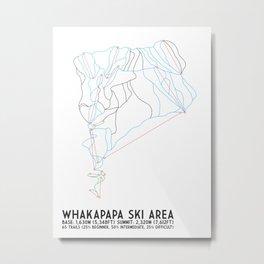 Whakapapa Skifield, New Zealand - Minimalist Trail Art Metal Print