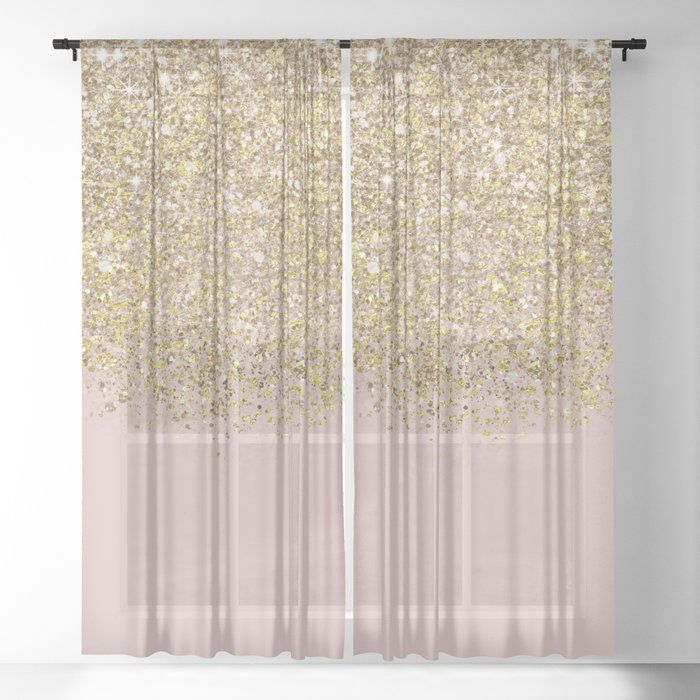 Pink And Gold Glitter Sheer Curtain By, Shimmer Sheer Curtain Panels
