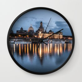 Dresden skyline, City, Germany, Cityscape blue hour Wall Clock