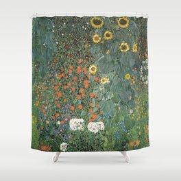 Gustav Klimt - Farm Garden with Sunflowers Shower Curtain