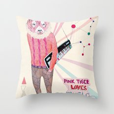 Pink Tiger Throw Pillow