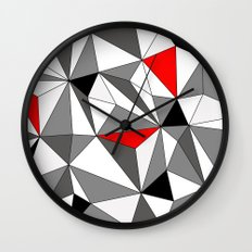Geo - red, gray, black and white Wall Clock