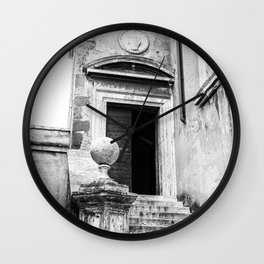 Castel Sant' Angelo | Old door with stairs | Rome | Black & White | Travel Photography | Photo Print | Art Print Wall Clock