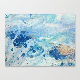 Under the Sea - Blue Abstract Acrylic Pour Art Canvas Print