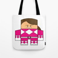 power ranger Tote Bags featuring Mighty Morphin Power Rangers - Kimberly (The Original Pink Ranger) by Choo Koon Designs