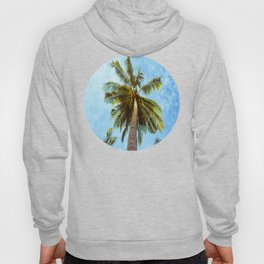 Mid Century Modern Round Circle Photo Looking Up At A Tropical Palm Trees Hoody