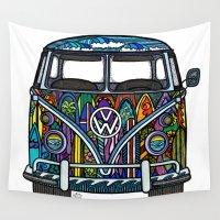 volkswagen Wall Tapestries featuring Volkswagen Surf Van by Jackie Mathews Designs