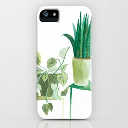 watercolor potted plants // macrame bohemian green house plant garden terrarium iPhone Case