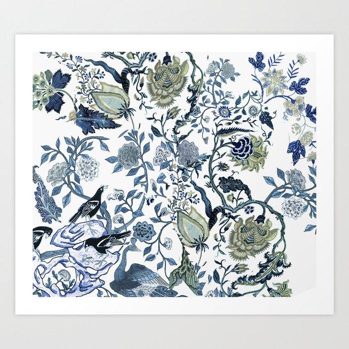 Blue vintage chinoiserie flora Kunstdrucke