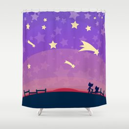 Starry sunset seen by cats Shower Curtain
