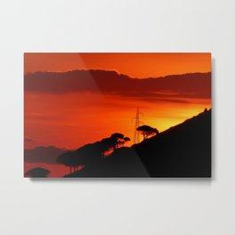 Sunrise Sky Silhouette Pine Trees Metal Print