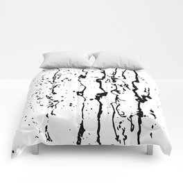 poured paint blots black and white Comforters